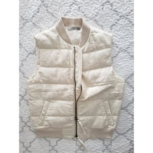 VINCE ivory cotton quilted double zip puff vest